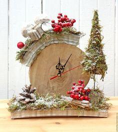 Новый год 2016 ручной работы. Ярмарка Мастеров - ручная работа. Купить Зимние часы. Handmade. Бежевый, часы для дома, рождество