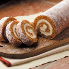 Favorite Pumpkin Cake Roll Recipe -This pumpkin cake roll is great to keep in the freezer for a quick dessert for my family or unexpected guests, to take to a gathering or to give as a yummy gift. The recipe is in such demand, I use a 29-ounce can of pumpkin to make four rolls at a time. —Erica Berchtold, Freeport, Illinois