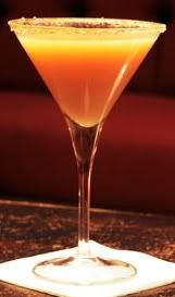 Caramel Apple Martini-2 oz.Stolichnaya Vodka   1 oz.Apple Schnapps  2 oz.Apple Juice   Caramel Rim  Fried Apple Crisp garnish