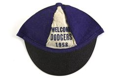 Blue and white beanie welcoming the Dodgers to Los Angeles (1958)