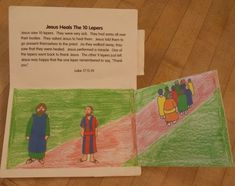 Lesson 18 One Man Thanks Jesus: Luke 17 - lift the flap interactive book with quite a few of Jesus' miracles including feeding the 5000, healing a lame man, healing a blind man, healing the 10 lepers, walking on water, and healing Lazarus