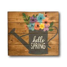 Hello Spring Sign - Front Door Sign - Spring Welcome Sign - Floral Pallet Sign - Spring Mantel Decor - Entryway Decor - Wood Spring Sign Painted Signs, Hand Painted, Painted Wood, Welcome Signs Front Door, Festa Toy Story, Home Decoracion, Summer Signs, Spring Painting, Spring Door