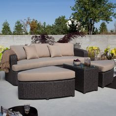 Montclair All Weather Wicker Sectional Sofa Set - Patio Chairs at Patio Furniture USA