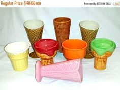 Vintage Ice Cream Cone,Sundae Cups,Set of 8,Mix and Match,Soda Fountain Glasses,Ice Cream Cone,Parfait,Malt Shop,Sundae Dish,Kawaii,Kitsch by JunkYardBlonde on Etsy