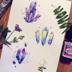 Find images and videos about colors, illustration and artist on We Heart It - the app to get lost in what you love. Kunstjournal Inspiration, Illustration Inspiration, Art Journal Inspiration, Painting Inspiration, Art Inspo, Art Sketches, Art Drawings, Crystal Illustration, Crystal Drawing