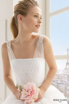 rosa clara two spring 2016 sleeveless sheer strap straight across neckline tulle layered romantic a line wedding dress sweep train (ecuador) zv