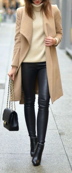 Camel coat, cream turtleneck jumper, leather pants, black leather booties