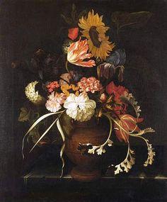 Файл: Geerti Питерс - ваза с цветами в урне на каменном slab.jpg