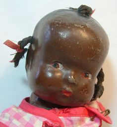 Black Composition Baby Doll with 3 Pigtails