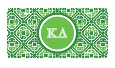 Kappa Delta Sorority License Plate monogrammed in greek letters. newbeginningdesigns.com