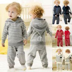 Angel Dear NWOT Grey Hooded Cotton Knit Stripe Sweater /& Pants 0-3 Months