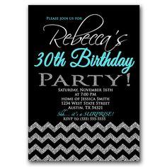 30th Birthday Chevron Invitation Black Silver by PurpleChicklet, $18.00