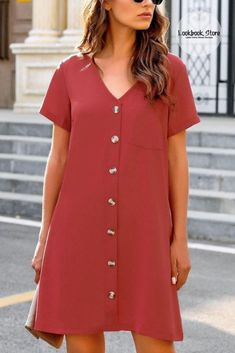 Be sweet and sassy as you wear this dark coral pink V-neck button down short sleeve mini dress.