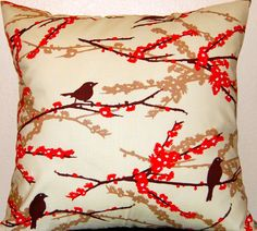 Decorative Throw Pillows Toss Pillow Covers - 16 x 16 Inches - Aviary 2 by Joel Dewberry Sparrows in Bark. $24.00, via Etsy.