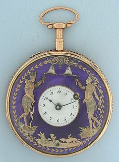 Good large and impressive 18K gold automaton quarter repeater verge and fusee antique pocket watch by Robert Guillarmond circa 1800. White enamel dial surrounded by a ring of blue enamel over engine turning with gold decorations supporting two figures of American Indians. When activated, this watch chimes the time using different chime tones to designate the hours and quarter hours, and the figures on the dial strike mock bells in coordination with the loud and clear chime of the movement.