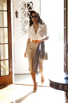 Old school glamour. White shirt. Beige skirt. Orange belt. Business professional office style