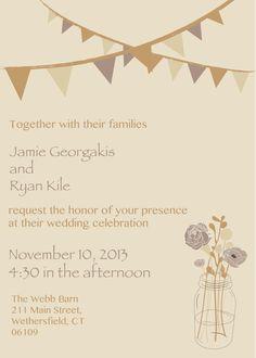 Wedding Invitation Vintage Mason Jars with by AestheticJourneys, $50.00