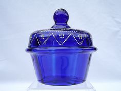 Bohemian enamelled cobalt blue glass trinket box