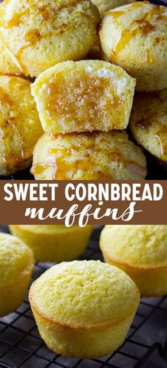 Look no further for a favorite cornbread recipe, because these sweet cornbread muffins are it! They are moist, flavorful, and soak up butter like nothing else. via Sarah High Heels and Grills muffin recipe Zucchini Muffins, Muffins Blueberry, Cranberry Muffins, Muffin Recipes, Baking Recipes, Dessert Recipes, Desserts, Sweet Cornbread Muffins, Cornmeal Muffins Recipe