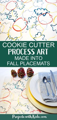 Cookie Cutter Process Art Made into Fall Placemats is part of Holiday Kids Crafts Cookie Cutters - These fall placemats are the perfect project for younger kids! Cookie cutter process art turned into beautiful fall placemats for your holiday table Autumn Activities For Kids, Fall Preschool, Preschool Crafts, Kid Activities, Kids Crafts, Kindergarten Thanksgiving, Nature Activities, Preschool Activities, Outdoor Activities