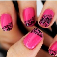 Pink with black lace.