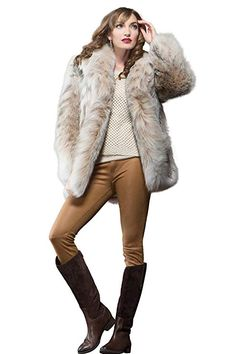 18e55e7c EM-EL Women's Natural Canadian Lynx Fur Jacket at Amazon Women's Coats Shop