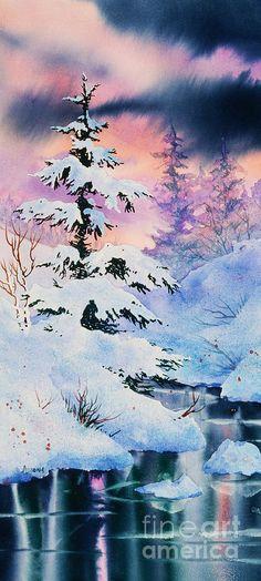 Snowy Spruce Painting - Snowy Spruce Fine Art Print