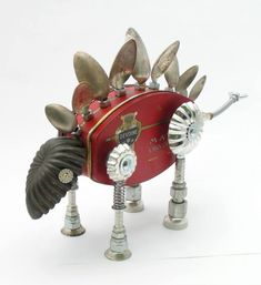 nuts and bolts scrap metal art Recycled Robot, Recycled Art, Repurposed, Found Object Art, Found Art, Sculpture Metal, Art Sculptures, Abstract Sculpture, Steampunk Robots