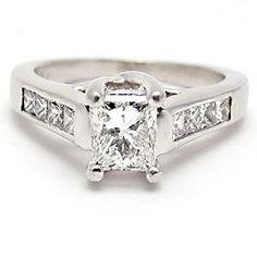 ECO FRIENDLY ESTATE PRINCESS CUT DIAMOND ENGAGEMENT RING SOLID PLATINUM