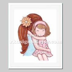 Girls room decor mother daughter art baby girl nursery art children's art red hair mom blonde hair girl My Sunshine 8x10 by rkdsign88 on Etsy https://www.etsy.com/listing/78773206/girls-room-decor-mother-daughter-art