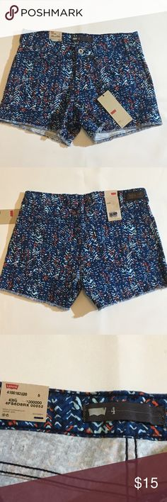 "Levi's Blue geo print denim shorts, size 4, NWT Levi's Blue geo print denim shorts, size 4. NEW Super Cute Women's Levi's Strauss, Blue Orange Jeans / Denim Shorts, Size 4 Item Features: 99% Cotton 1% Elastane, machine washable 4 pocket style 3"" Metal Zipper Approximate Measurements: Low Rise, Sits below waist, Front rise 8"", Rear rise 14"",  Inseam 4"". NWT. Levi's Shorts Jean Shorts"
