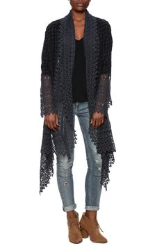 Crochet jacketwith intricate, lacy crotchet trim and eyelet embroidery.This flowy cover up is a lightweight jacket that needs little more than denim and a simple cami to create a boho beautiful outfit.   Antoinette Crotchet Jacket by Johnny Was. Clothing - Jackets, Coats & Blazers - Jackets New Jersey