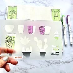 Plants + bullet journal = love. Head over here for this amazing bujo stencil. #plantmama #bulletjournal Journal Layout, Bullet Journal Inspiration, Bujo, Journaling, Stencils, Cactus, Succulents, Amazing, Tips