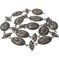 """Navajo Sterling Concho Belt Hand Wrought Butterfly Spacers 35.5"""""""