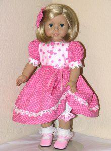 Handmade American Girl Valentine 18 inch Doll Dress Pink Hearts
