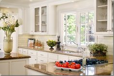 Kitchen inspiration... off white cabinets, subway, tile, and granite countertops... PERFECT!
