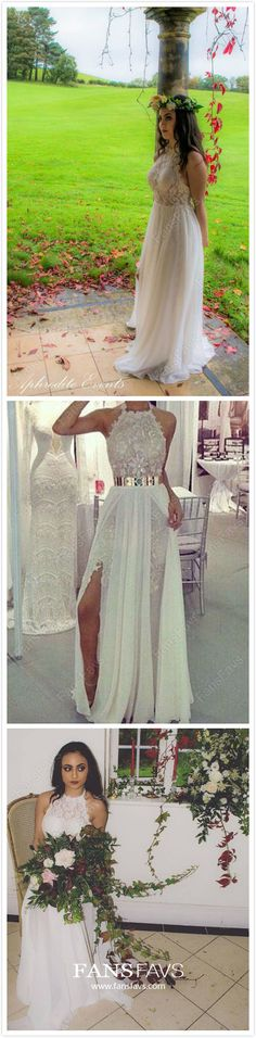 2019 Long Prom Dresses Elegant, White Prom Dresses With Slit, Lace Prom Dresses Halter, Chiffon Prom Dresses Sheath/Column White Pageant Dresses, Prom Dresses Long Modest, Cheap Formal Dresses, Affordable Prom Dresses, Prom Dresses For Teens, Halter Dresses, Gala Dresses, Prom Gowns, Party Dresses