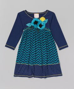 Look at this Jade & Navy Chevron Floral Dress - Toddler & Girls on #zulily today!