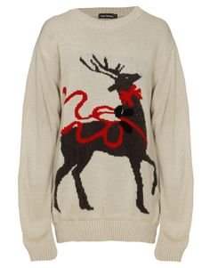 Reindeer and Ribbon Print Christmas Jumper in Beige 1