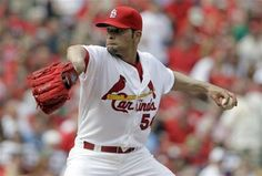 starting pitcher Jaime Garcia throws during the first inning of a baseball game against the Cincinnati Reds on Opening Day. Jaime matched his career high on strikeouts with bad the bullpen didn't show up to do their part today. Cards lost the game :( Cardinals Baseball, St Louis Cardinals, Jaime Garcia, Baseball Games, Cincinnati Reds, The St, My Boys, Mlb, Career