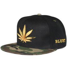 Mens Womens Snapback Hip Hop Baseball Cap Ganja leaf Marijuana Skunk Cannabis