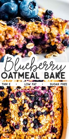 Whip up this healthy Blueberry Oatmeal Bake for a breakfast the whole family will enjoy! You can prep ahead the night before – so easy and convenient! Serve it with Greek yogurt for an extra filling and protein-rich meal. Thm Recipes, Good Healthy Recipes, Healthy Breakfast Recipes, Healthy Foods To Eat, Healthy Baking, Brunch Recipes, Whole Food Recipes, Healthy Snacks, Cooking Recipes