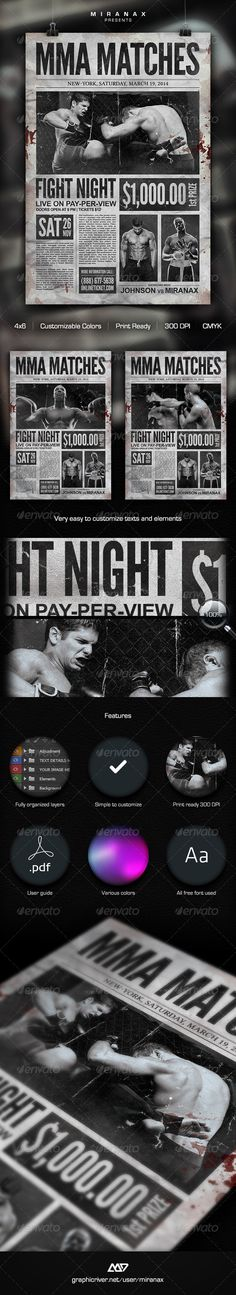 MMA Fight Flyer Flyer template, Graphic design templates and - old newspaper template
