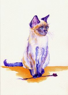 "ORIGINAL WATERCOLOUR PAINTING: CATS KITTENS FELINES SIAMESE:  ""THE CATNIP MOUSE"""
