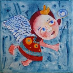 Whimsical painting angel painting Original art by ArtStudioChimeva
