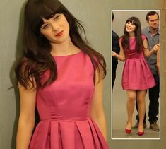 Zooey Deschanel's Pink flared dress from New Girl Season 2 photoshoot.  Outfit Details: http://wwzdw.com/z/2481/ #WWZDW
