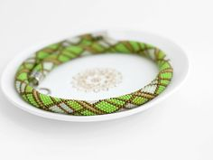 Made to order extraordinary crochet bead necklace Green Tea. Please allow 1-2 weeks to complete your order + additional time for shipping (2-4 weeks).