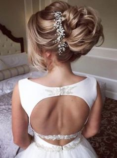 Pulled Back Updo White Hair Vine Wedding Hairstyle