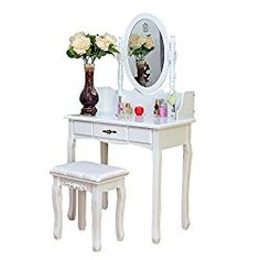 2 Piece Home Furnishing Stool Set Single Mirror Dresser with Dressing Stool Fashionable White Fosinz