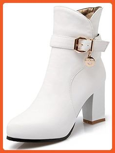 Women's Stylish Buckle Strap Pointed Toe Side Zipper Bridal Booties Chunky High Heel Ankle Boots Shoes